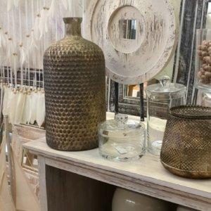 Váza sklo 18 x 37 cm, Kruh na stojanu 50 cm, Dózička s víkem